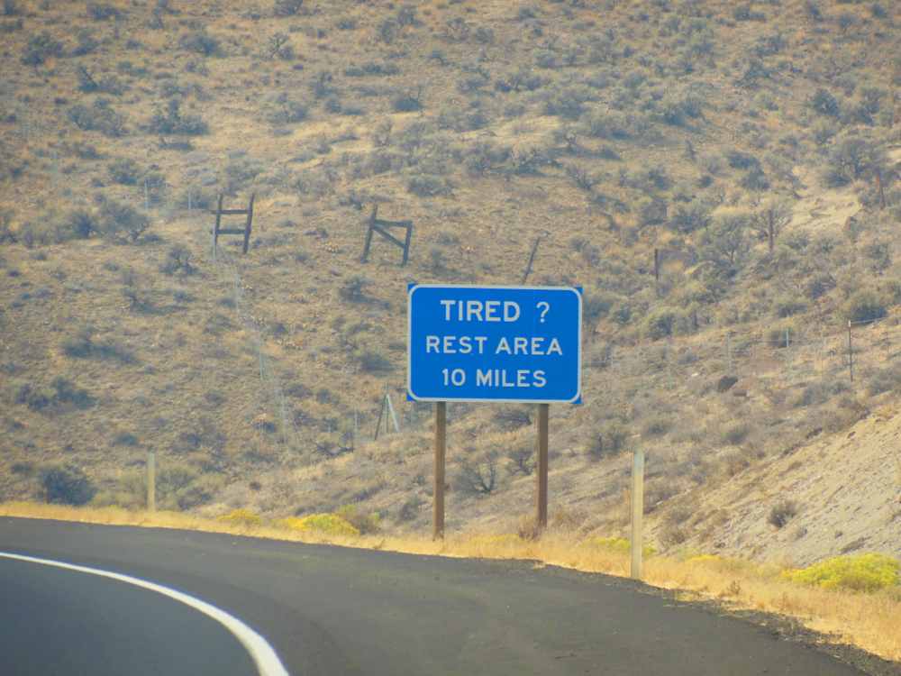 10 miles to rest area